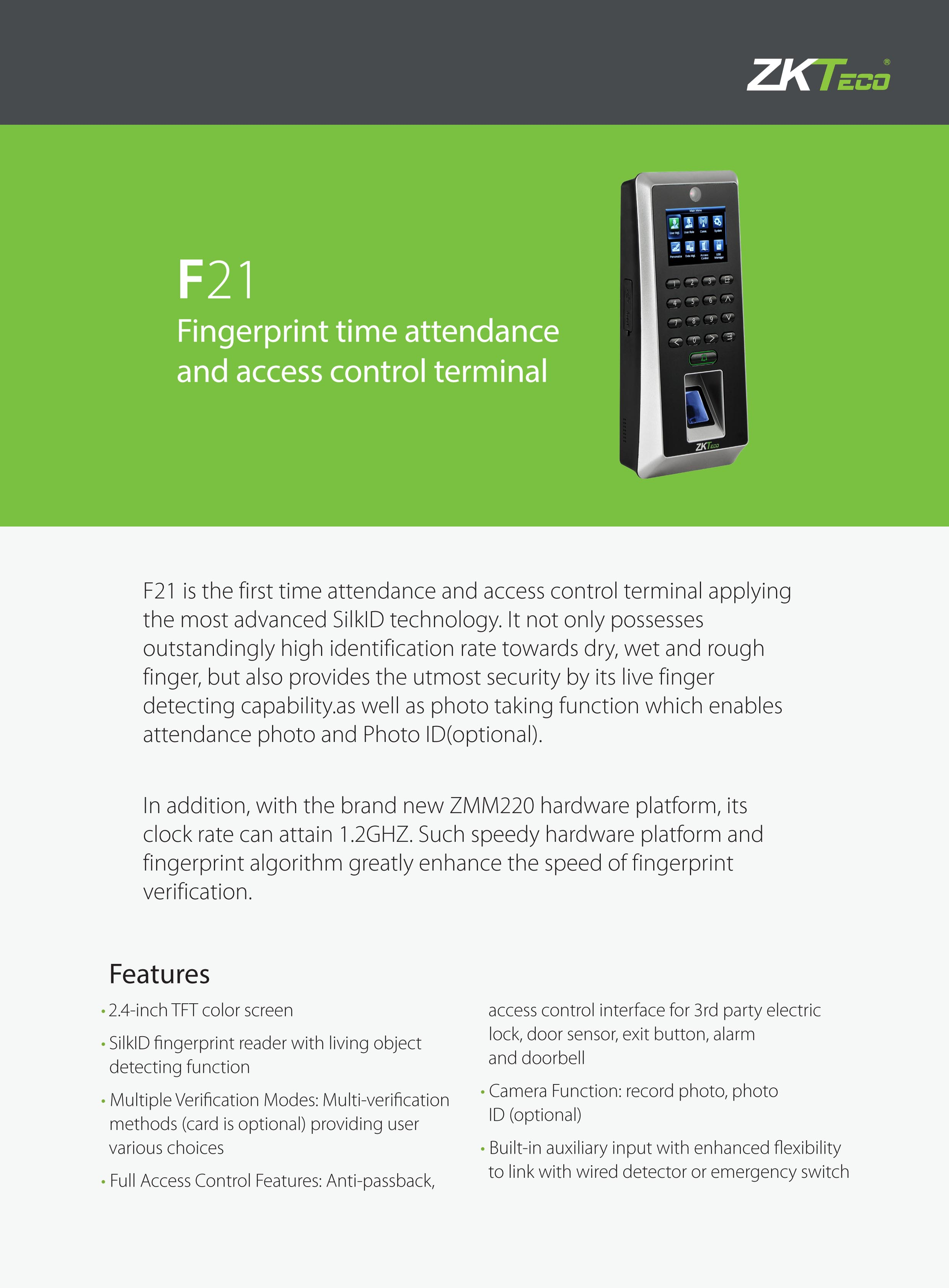 ZKTeco F21 Fingerprint Time Attendance and Access Control